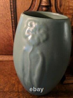 Vintage Arts & Crafts Zanesville Pottery Stylized Flower Vase Matte Green Finish