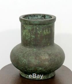 Vintage Arts and Crafts Green Bronze Copper Glaze Pottery Signed Clewell