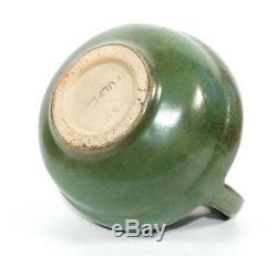 Vintage Fulper American Arts & Crafts Pottery Stepped Vase Green Glaze Handles