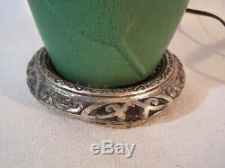 Vintage Matte Green Tobacco Leaf Pottery Lamp Zanesville Grueby Arts & Crafts