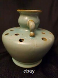 Vintage SELDEN BYBEE Kentucky Arts & Crafts Pottery Green Flower Frog Vase