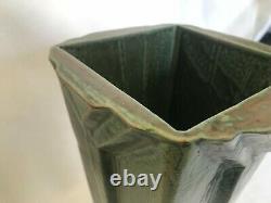 Vintage To Older Arts & Crafts Art Deco Lines Tall Pottery Vase Grueby Era