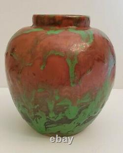 Vintage Weller Pottery 5 Greora Bulbous Vase Arts & Crafts Green Brown