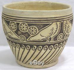 Vtg WELLER Burntwood Jardiniere Chickens Geometrics Arts & Crafts 1910 5 1/4