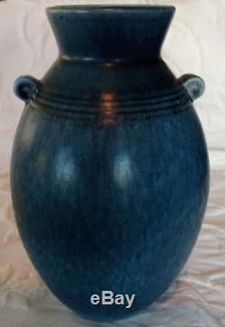 WELLER Gorgeous Cornish Deep Blue Double Handle Arts & Crafts 1930's Unique Vase