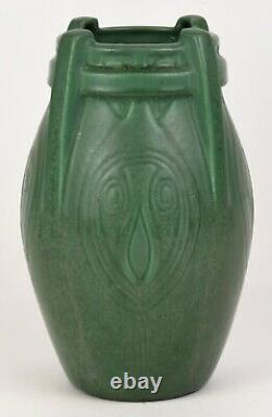 Weller 9.5 Tall Arts And Crafts Matt Green Vase With Incised Design