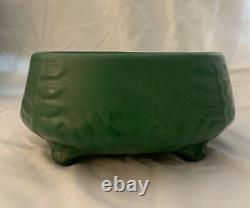 Weller Arts And Crafts Green Footed Bowl With Fern Leaves 1905. Mint