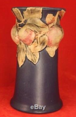 Weller Large Blue Baldin APPLES 9½ Corseted Vase ARTS & CRAFTS Mission