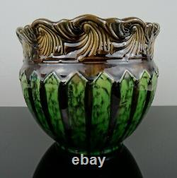 Weller Majolica Glazed Jardiniere Planter Brown Green Arts & Crafts 1910-1920
