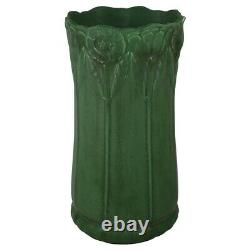 Weller Pottery Bedford 1915 Matte Green Arts and Crafts Poppy Umbrella Stand