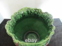 Weller Pottery Majolica Maroon & Green 10 1/2w X 8h Jardiniere Arts & Crafts