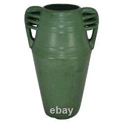 Weller Pottery Matte Green Arts and Crafts Handle Vase