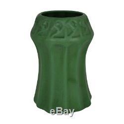 Weller Pottery Matte Green Fluted Arts and Crafts Vase