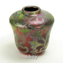 Weller Pottery Sicard 4 gourd iridescent luster vine & berry vase Arts & Crafts