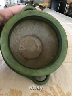 Weller or Roseville Arts & Crafts Matte Green Vase with Handles Chloron Egypto