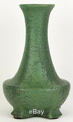 Wheatley Pottery 12.5 Tall Arts & Crafts Matte Green Teco Shape Vase